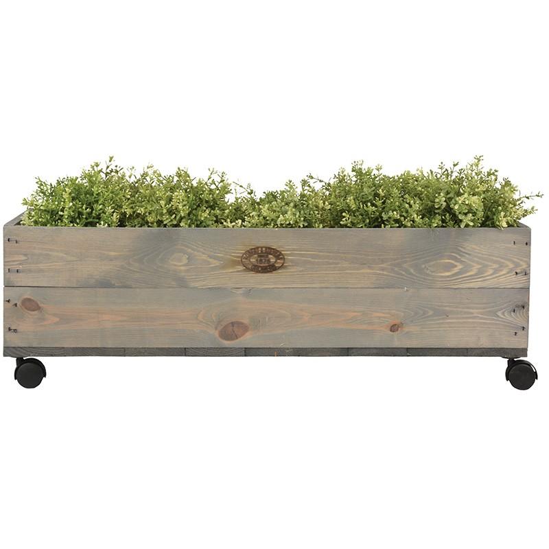 Comprar jardinera madera muy grande con ruedas - Jardineras con ruedas ...